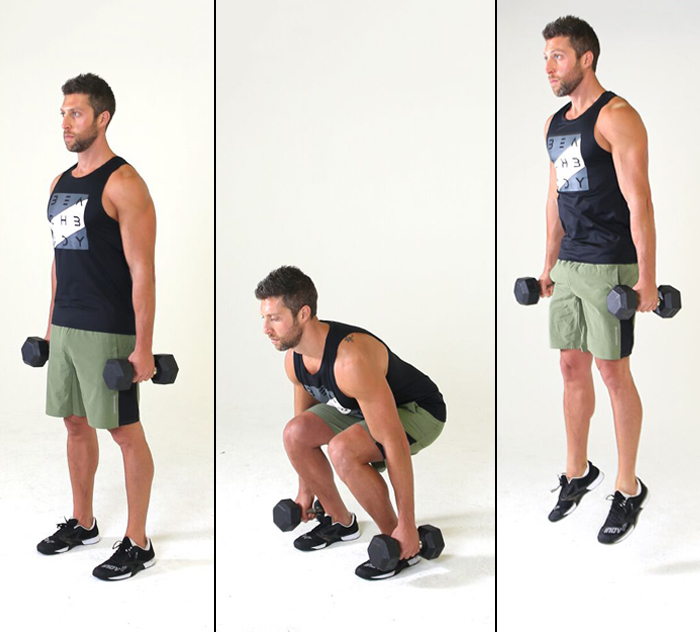 Calves Workout - Dumbbell Jump Squat