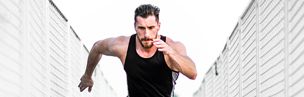 Benefits of Running – Man sprinting front angle