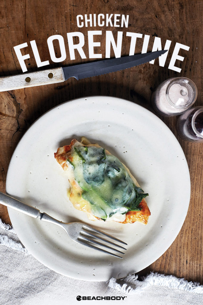 Healthy Chicken Florentine recipe for a quick chicken dinner of chicken breast topped with spinach and mozzarella cheese.