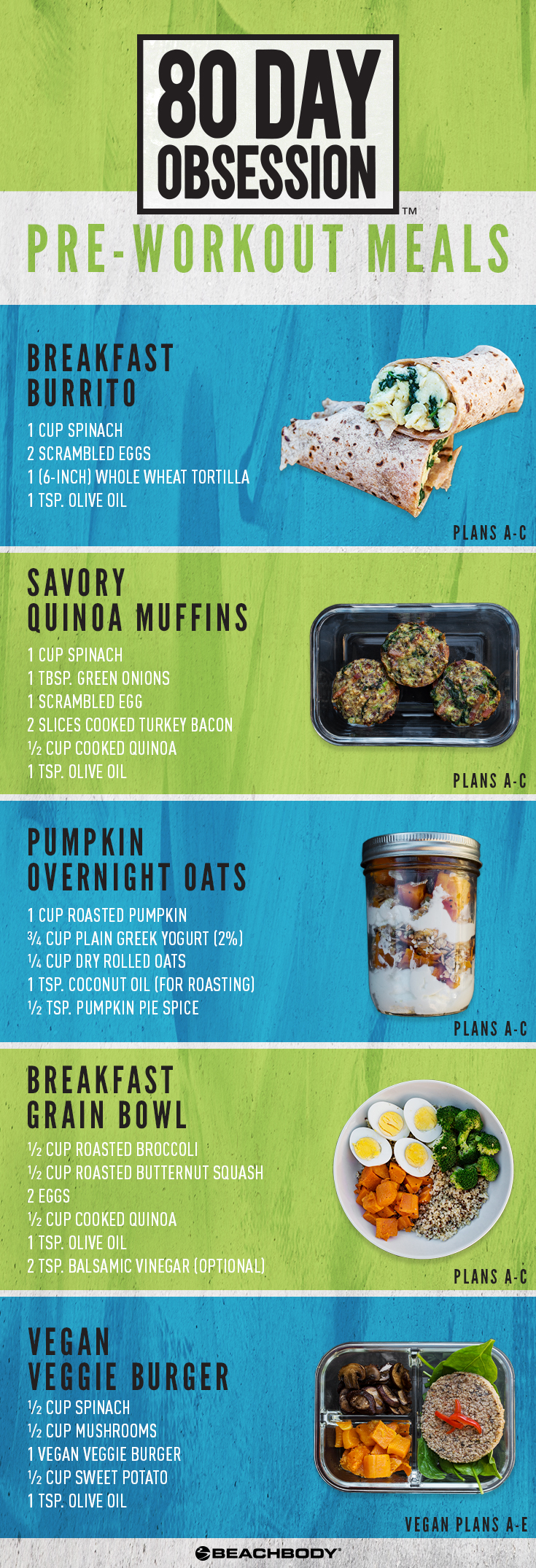 Pre-Workout Meals for 80-Day Obsession include a breakfast burrito, savory quinoa muffins, pumpkin overnight oats, breakfast grain bowl, and vegan veggie burger