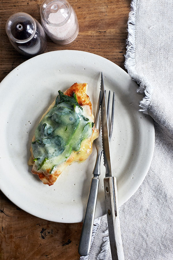 This classic Chicken Florentine is an homage to healthy eating with steamed spinach, juicy chicken breast, and savory part-skim mozzarella on top.