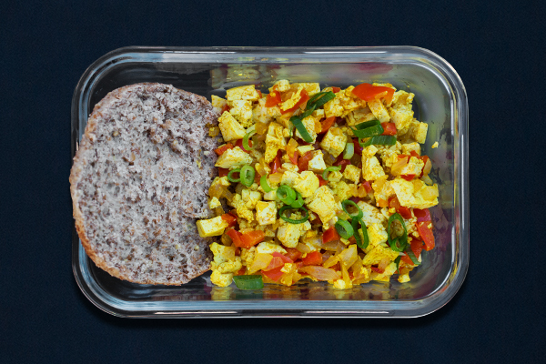 Pre-workout meals for 80 Day Obsession, pre-workout nutrition, pre-workout snacks, vegan scramble with English muffin