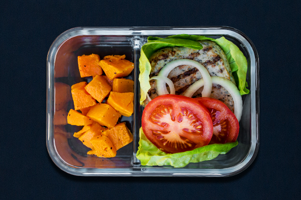 Post-Workout Meals for 80 Day Obsession, open-faced turkey burger with sweet potatoes