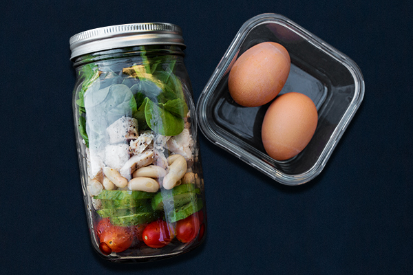 Post-Workout Meals for 80 Day Obsession, Salad Jar with Hard-Boiled Eggs