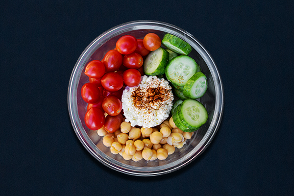 Post-Workout Meals for 80 Day Obsession, cottage cheese with tomatoes, cucumber, and chick peas