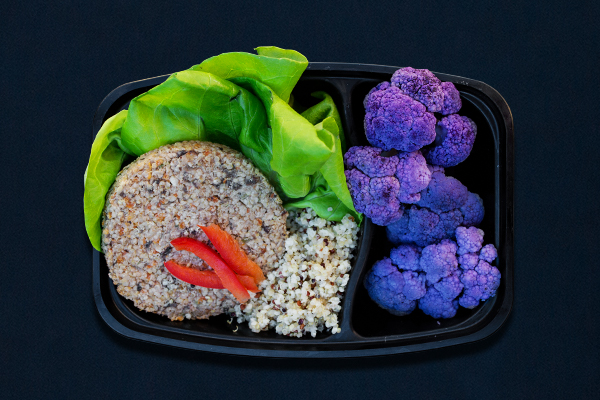 Post-Workout Meals for 80 Day Obsession, Vegan Veggie Burger with Purple Cauliflower