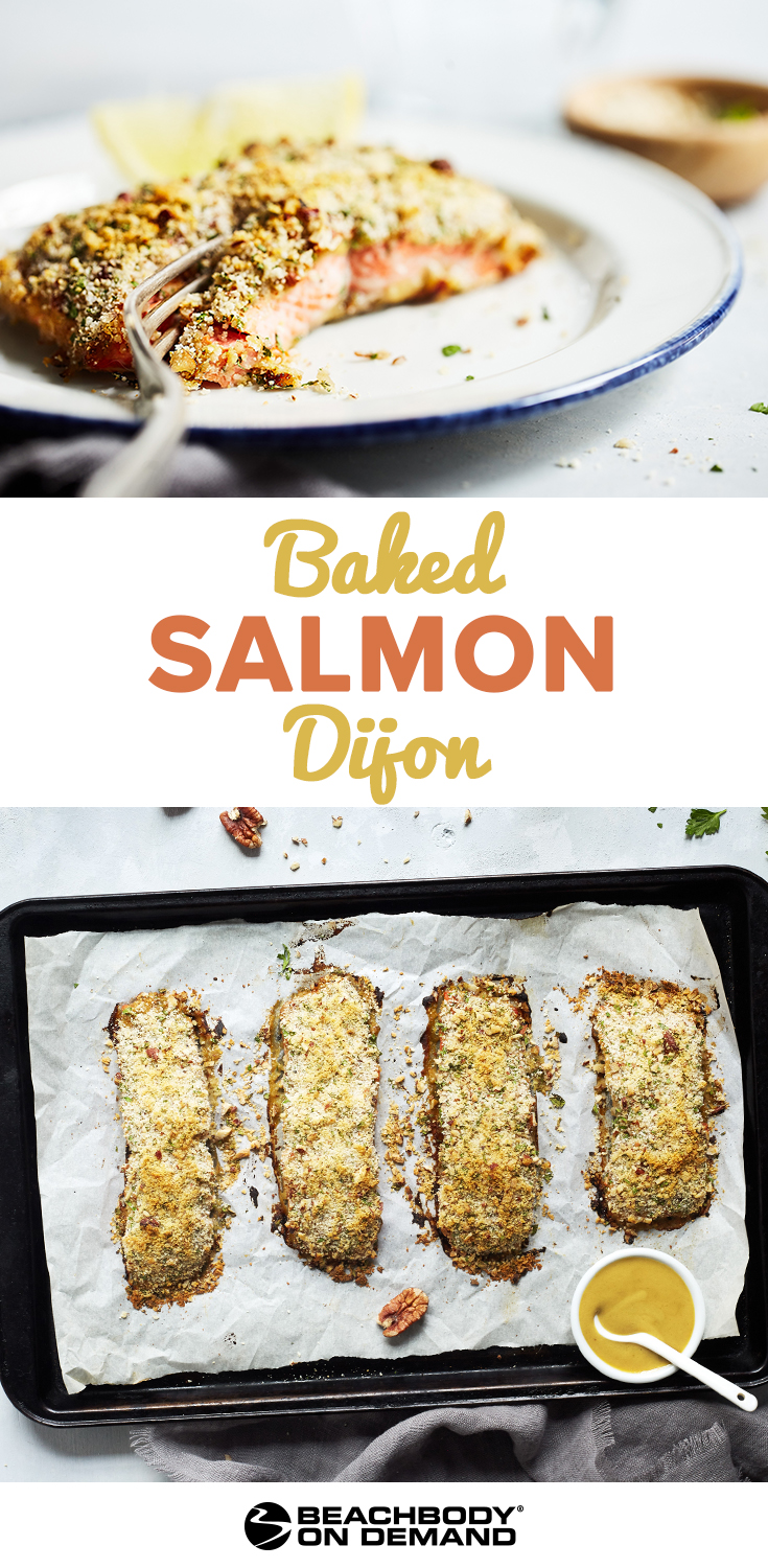 Easy and healthy Baked Salmon Dijon recipe breaded with breadcrumbs, crushed pecans, and fresh herbs for a simple sheet pan dinner.
