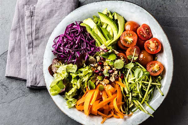Healthy vegetarian bowl in a salad