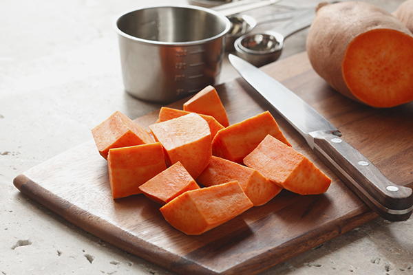Sweet Potato chunks on cutting board