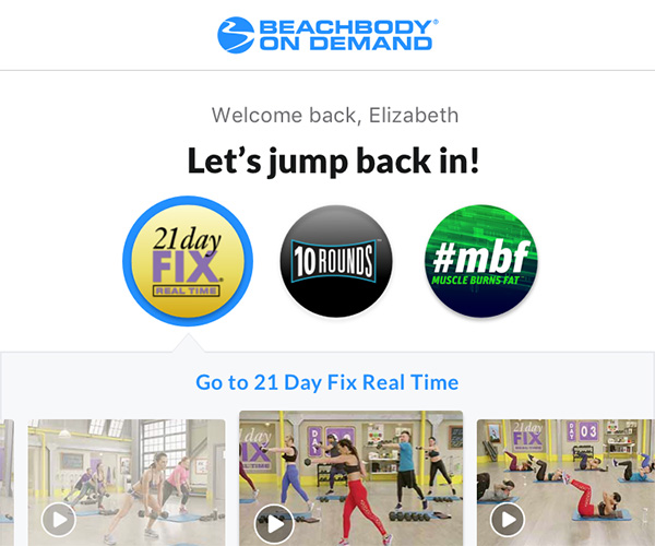 Beachbody On Demand App homepage