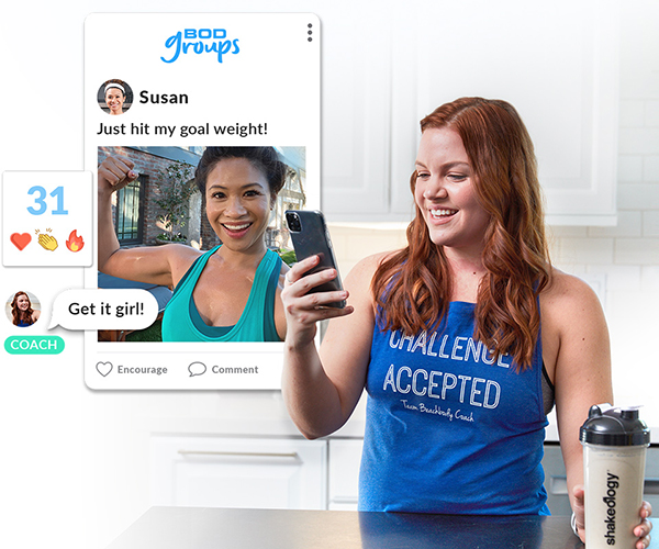 Woman facetiming with her fitness coach