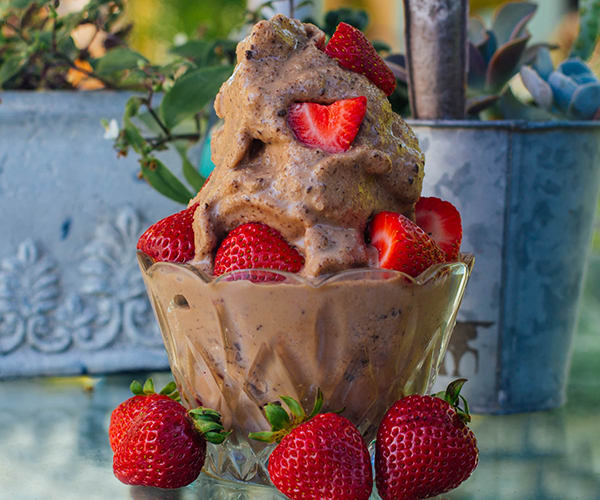 No-Churn Chocolate Peanut Butter Shakeology Ice Cream