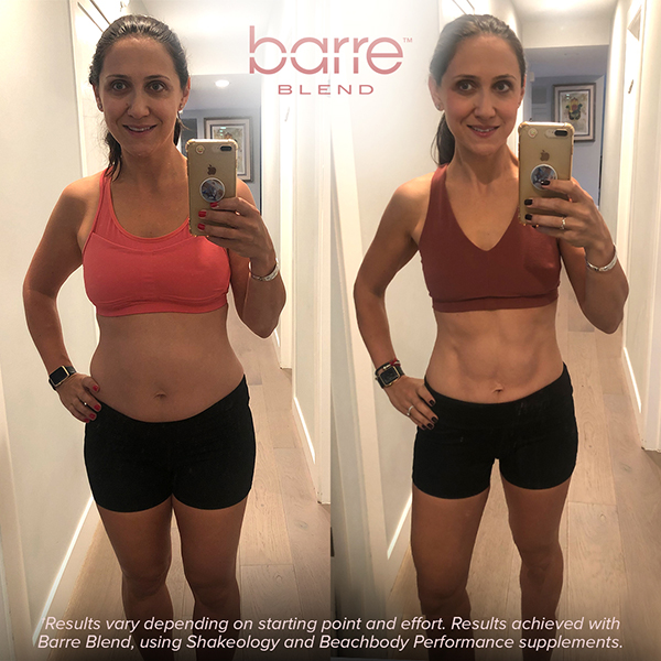 Before and after photos with Barre Blend