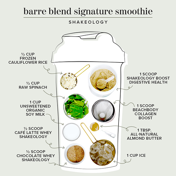 Barre Blend smoothie ingredients in a shaker cup