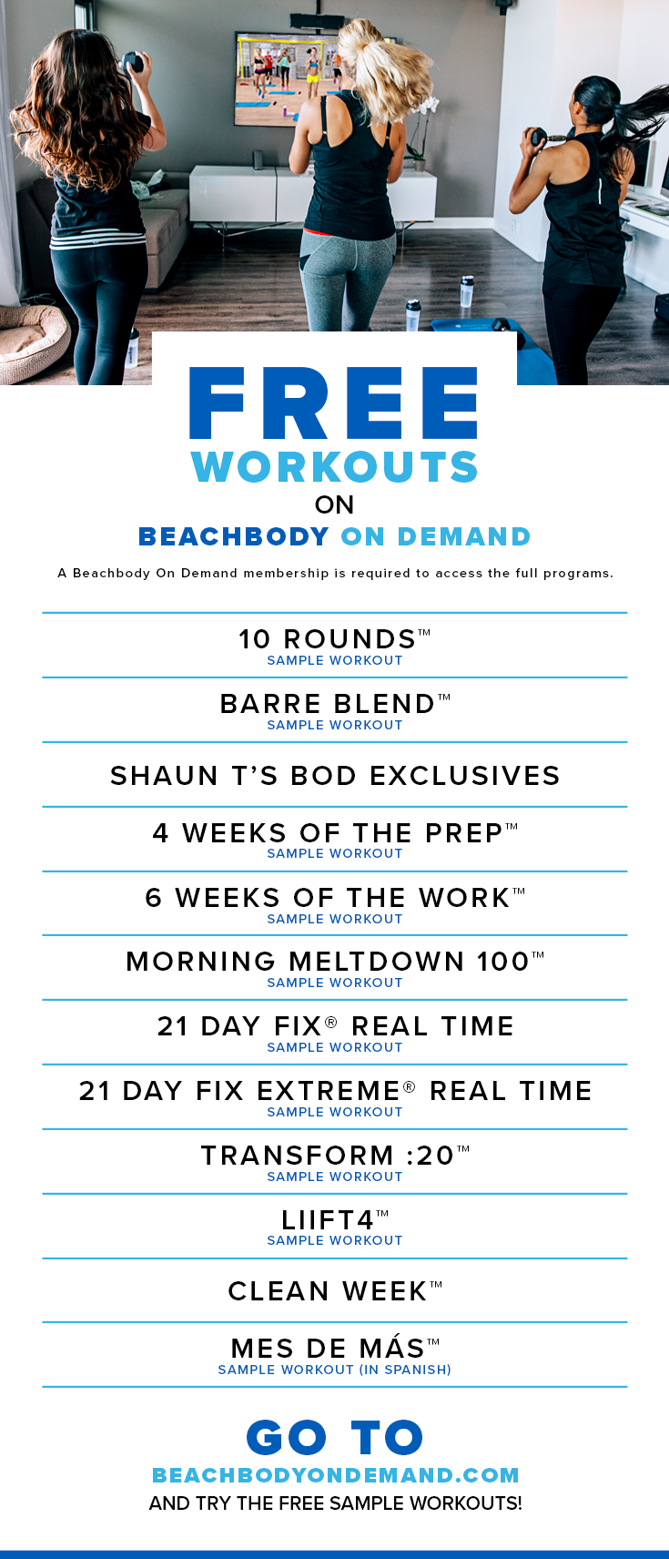 Free sample workouts on Beachbody