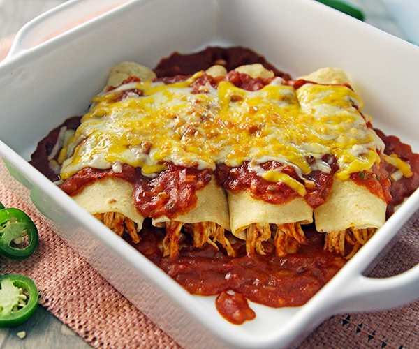 Chicken-Enchiladas in a pan