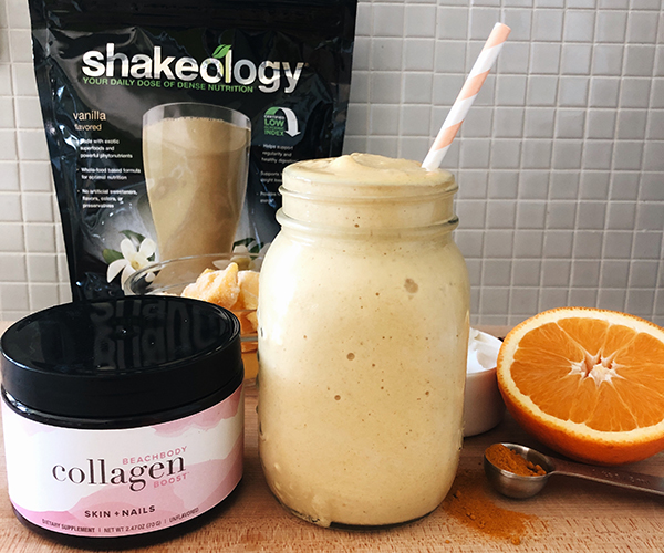 Shakeology Collagen smoothie with ingredients