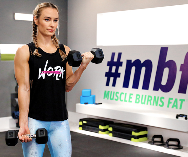 Megan Davies doing biceps curls