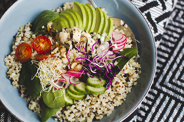 Quinoa chicken veggie bowl