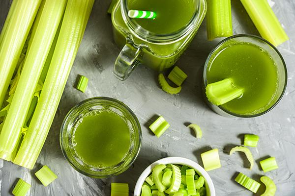 Celery juice in glasses