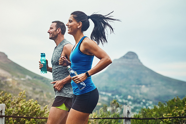 Couple going on a run together