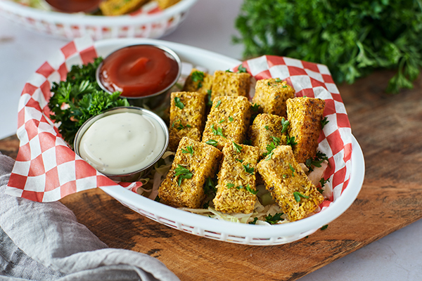 Tofu nuggets in a basket