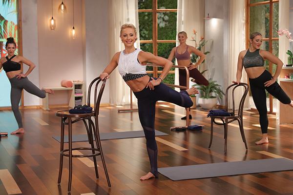 Elise Joan leading Barre Blend workout