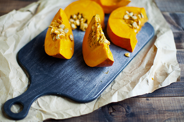 Pumpkin slices on cutting board