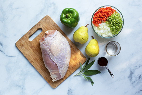 Turkey breast, ingredients on counter