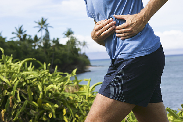 Runner with side stitch