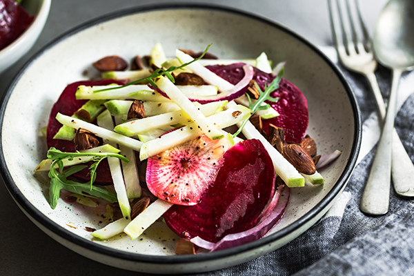 Sliced turnip with beets, radishes, onion
