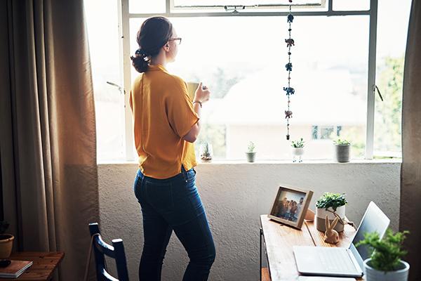 Woman taking a break from Zoom meetings