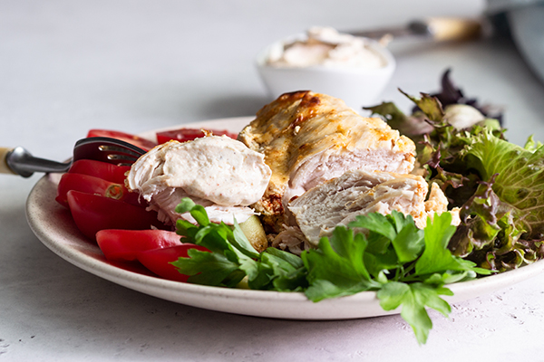 Chicken with greens, tomatoes