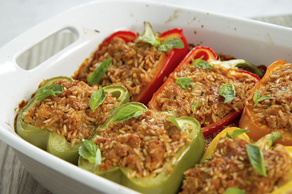 Stuffed peppers in a pan