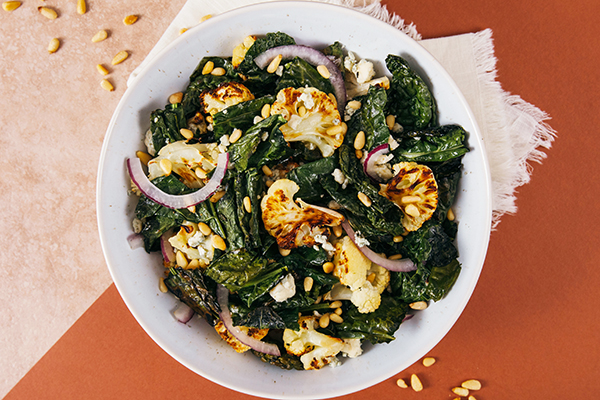 Roasted Kale Cauliflower in a bowl