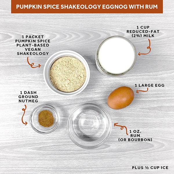 Pumpkin Spice Shakeology Eggnog ingredients