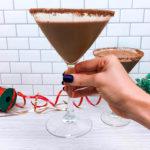 Peppermint-Mocha-Shakeology shake in martini glasses
