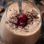 Chocolate Cherry Cheesecake Shakeology in a glass
