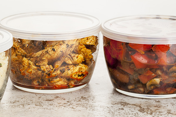 Leftovers in glass freezer containers