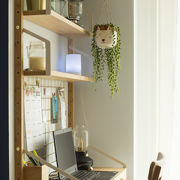 Small working from home area, with desk and decorations.
