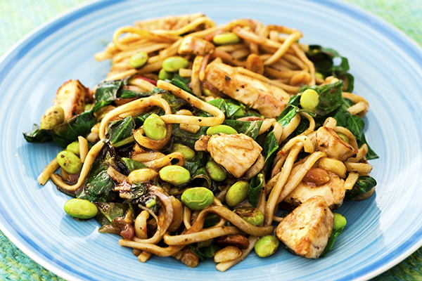 Peanut Chicken With Soba Noodles on a plate