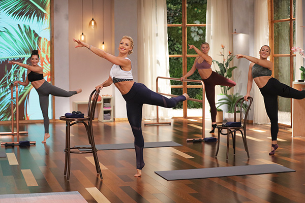 Elise Joan leading Barre Blend workout