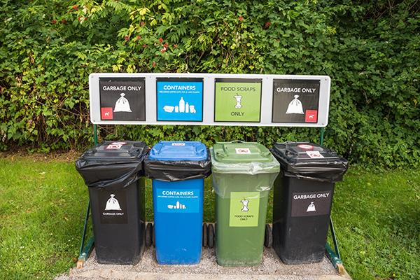 Trash and recycling bins