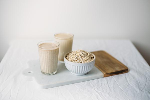 Cups of oat milk