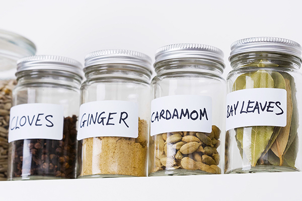 Jars of assorted herbs and spices