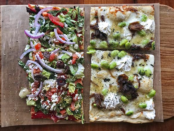 Vegetarian pizza slices