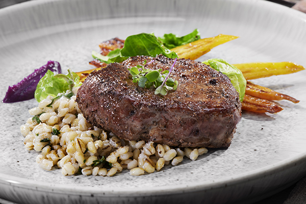 Bison Steak with Barley, and Roasted Carrots, Brussels Sprouts