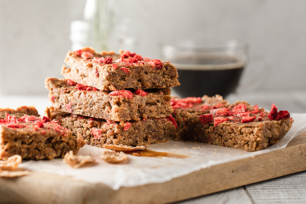 Coffee and Cereal Bars on cutting board
