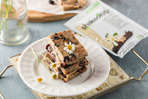 Shakeology No Bake Blueberry Pie Bars on a plate