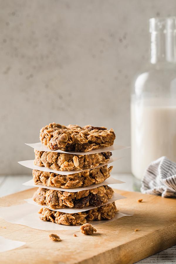 Shakeology No Bake Oatmeal Raisin Cookies stacked